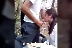 Desi Indian tutor girl open-air suck