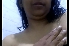 South Indian MILF in a frowning bra stripping in the shower