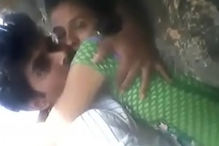 Legal age teenager Rashna with boyfriend kissed in forest open-air